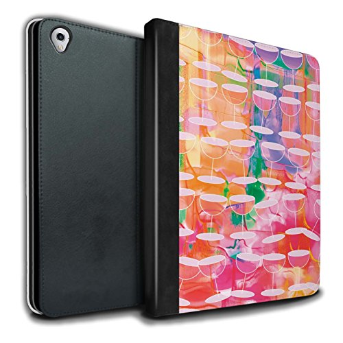 STUFF4 PU Pelle Custodia/Cover/Caso Libro per Apple iPad Pro 9.7 tablet / Acquerello Vino / Vibrante Moderna disegno