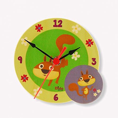 Dida - Stehende Holzuhr für das Kinderzimmer mit einem netten Paar Eichhörnchen