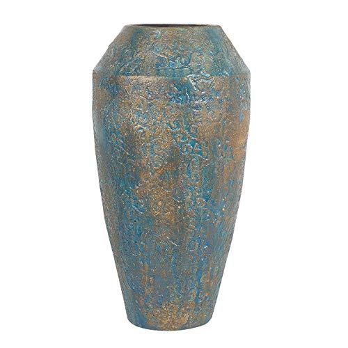 Beliani Formschöne, Moderne Deko-Bodenvase aus Ton in Gold/Türkis Massa