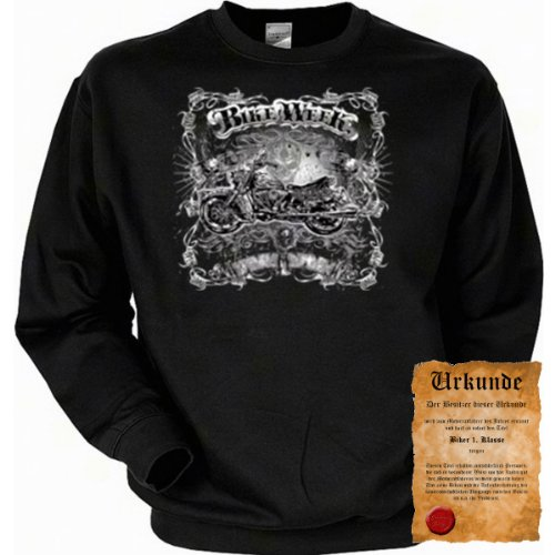 cooles Biker Sweatshirt + Ukunde - Motiv Bike Week - Sweater Herren Motorrad Pullover Pulli Geschenk Weihnachten Geburtstag -