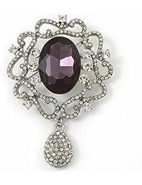 Cristal de Swarovski y violeta joya de la broche de filigrana Oval encanto (chapado en rodio) - 65 mm de largo