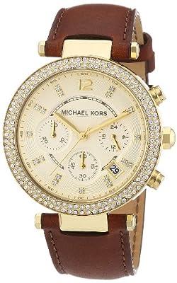 MICHAEL KORS MK2249 de cuarzo para mujer con correa de piel, color marrón