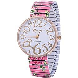 SSITG Women's Daisy Flower Bracelet Vintage Quartz Rose Gold Watch Stainless Steel Stretch Bracelet