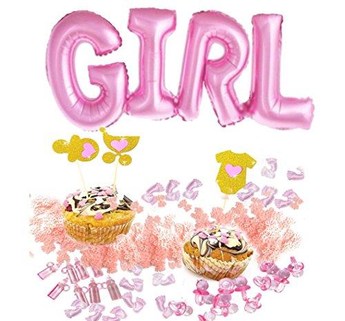 (LAOZHOU Luftballon Girl Schriftzug in Pink Mini Glas Schnuller Baby Flasche Dusche Bevorzugungs Rosa Füßchen Baby Its a Girl)
