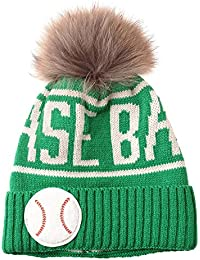 b2b3bf5aa69 WITHMOONS Strickmützen Seemannsmütze Knitted Faux Fur Pom Pom Baseball Beanie  Hat Slouchy NC5813