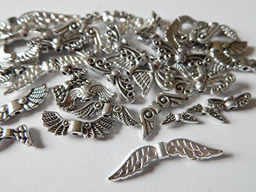 50 Engelflügel Flügel Perlen Mix Metall Silber Diverse Größen und Formen
