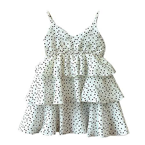 Livoral Mädchen Print Party Prinzessin Kleid Kleinkind Kind Baby Kleidung ärmellose Liebe(Weiß,100)