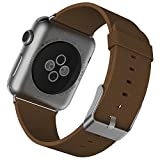 Apple Watch Armband, JETech 42mm Büffelleder Replacement Wrist Band mit Metallschließe Uhrenarmband für Apple Watch 42mm (Hellbraun) - 2104
