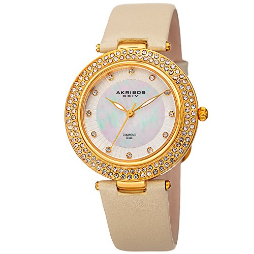 Akribos XXIV Damen-Armbanduhr Quarz-Diamant, Kristall, Perlmutt Necklaces Halskette & Champagner Leder Armband-ak1008yg (Quarz-diamant-halskette)