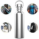 TRIPLE TREE Nicht Isolierte Edelstahl Trinkflasche 750ml auslaufsicher BPA-Frei Hält Heiße und Kalte Getränke für Outdoor Sports Camping Wandern Radfahren Wird mit Einem Haken Geschenk