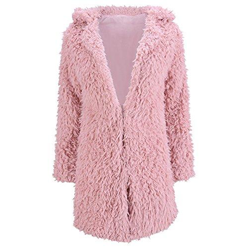 LAEMILIA Damen Mantel Winter Elegant Warm Faux Fur Kunstfell Cardigan Trenchcoat in Felloptik Jacke Lang Mantel Coat Wintermantel Outwear