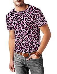 Estampado de leopardo rosa brillante para hombre mezcla de algodón T-Shirt