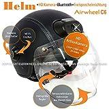 AIRWHEEL C6 Skihelm mit Visier und Sonnenblende Damen Herren dunkelblau. Helm mit HD-Kamera, WiFi, Bluetooth, Kopfhörern, Freisprecheinrichtung. Größe M 57-58cm