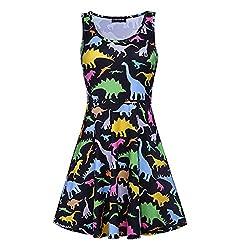 Grapes Garden Women's Figure-Hugging U-Neck Animals Printed Mini Dress Girls Sleeveless Tunic Swing Party Cocktail Dress