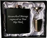 Personalisierte 6 Unzen schwarz FLACHMANN in Geschenkbox mit Trichter und 4 Schüsse (weiße Linien) Hochzeitsgeschenk, Geburtstagsgeschenk, Vatertag, Weihnachtsgeschenk