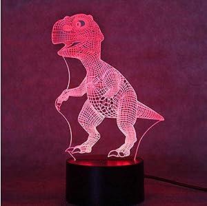 cena de navidad con karaoke: Dinosaurio 3D Lámpara de noche Fuente de alimentación USB Lámpara de ahorro de e...