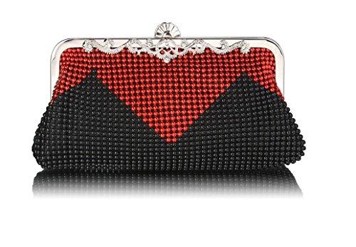 GetThatBag® da donna con perline cristallo frizione borsa, colore: nero/argento/rosso/nero Red