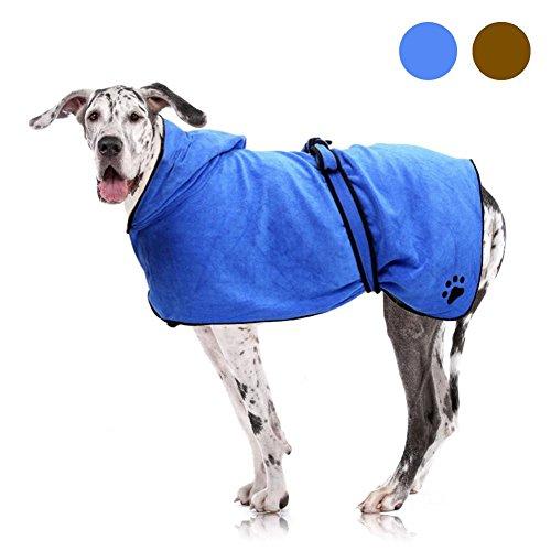 Filfeel Albornoz para mascotas Perros Gatos Súper suave absorbente Toalla de baño con capucha Manta de secado rápido Albornoces lavables para la preparación del cabello y ducha de baño(M-Azul)