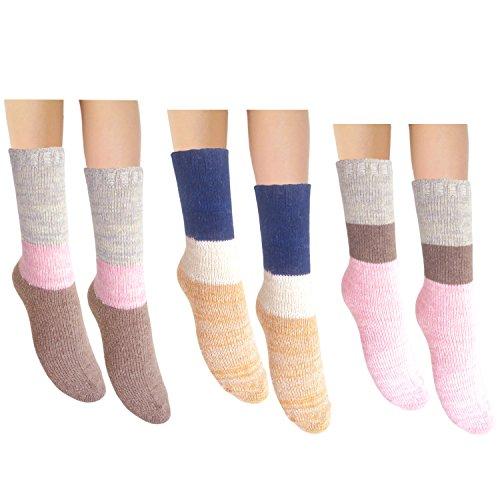 JHosiery Damen Angora & Wolle warme Winter Socken (3 Paar mischen) - Angora Socken