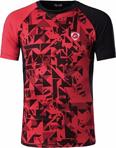 jeansian Herren Sportswear Quick Dry Short Sleeve T-Shirt LSL133 LSL193_Red