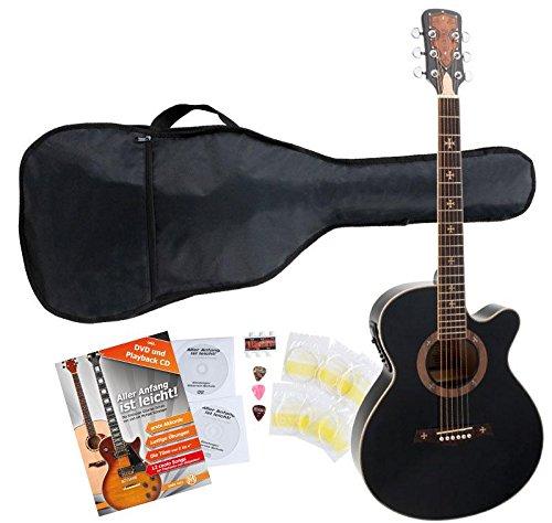 Rocktile CF-6000FM 4EQ Empire Westerngitarre Starter Set inkl. Zubehör (Decke, Boden, Zarge: Linde, Hals: Fichte, inkl. Tasche, Noten, Stimmpfeife, Plektren und Saiten) Schwarz
