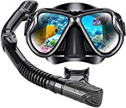Diving goggles snorkeling silicone swimming goggles set, with wet and dry adjustable float valve, purge valve