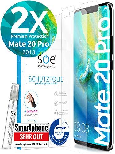 [2 Stück] 3D Schutzfolien kompatibel mit Huawei Mate 20 Pro - [Made in Germany - TÜV] - Hüllenfre&lich - Transparent - Selbstheilend - kein Glas sondern Panzerfolie TPU