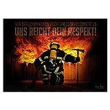 FIRE & FIGHT Streetwear Feuerwehr Poster Dein RESPEKT Wandbild Querformat 100 x 70 cm