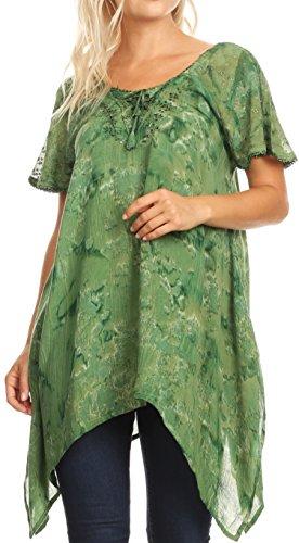 Sakkas 18725 - Kiara Damen Asymmetrische Marble Dye Sommer Top Bluse Kurzarm Spitze - Grün - OS (Pailletten-bauer-spitze)