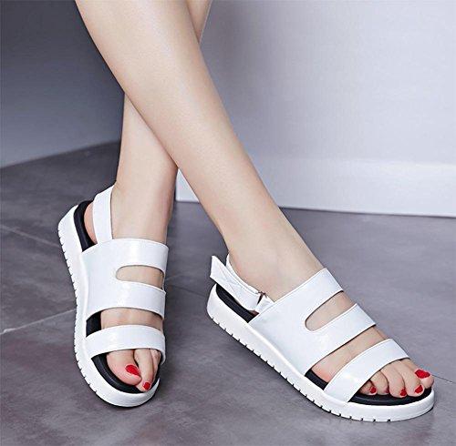 Mme creuse des sandales à bout ouvert sandales confortables étudiants femme chaussures plates White
