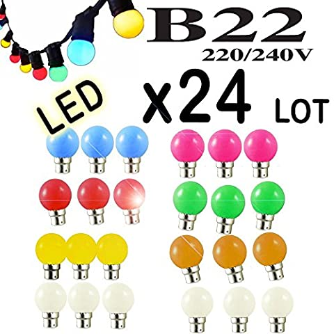 Lot de 24 ampoules Led B22 1W Guirlande Rouge, Jaune, Verte, Orange, Rose, Bleu, Blanc chaud Incassable (équivalence