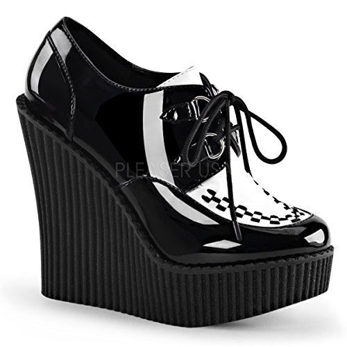 Demonia Damen High Wedge Creeper-302 Lack Schwarz/Weiß