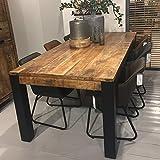 Industrial Esstisch Akazie massiv Holztisch Dinnertisch Tisch Esszimmertisch (220 x 100 cm)
