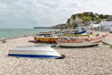 adrium Leinwand-Bild 30 x 20 cm:Fishing boats and chalets at the pebble beach of Yport in Normandie, France, Bild auf Leinwand