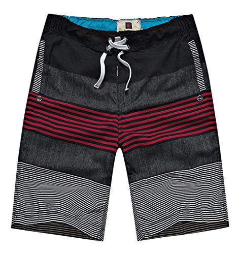 Bronze Times Herren Badeshort Gr. Medium, Mehrfarbig - black red stripe (Lightweight Pants Knit)