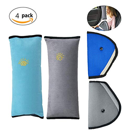 Almohadillas para Cinturón Cojín de Coche,TANGGER 4PCS Desmontable Almohadillas Protectores de Hombro,Niño Apoyo para la Cabeza la Ayuda del Cuello Almohada Confort Cinturón (Azul y gris)