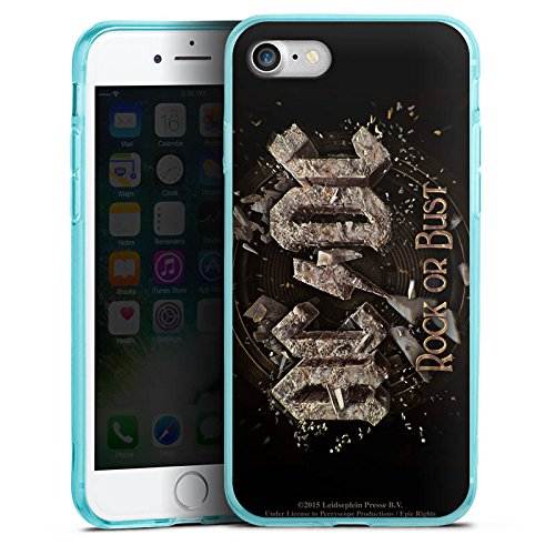 Apple iPhone 8 Silikon Hülle Case Schutzhülle ACDC Merchandise Fanartikel Rock or Bust Silikon Colour Case eisblau