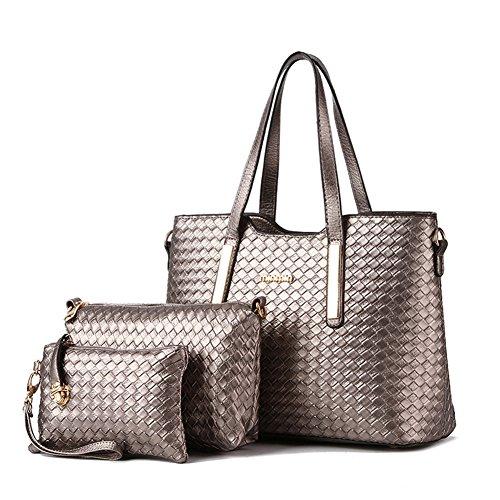 fanhappygo Fashion PU Leder Handtasche Schultertasche Geldbeutel 3pcs Beutel Umhängetaschen Silber