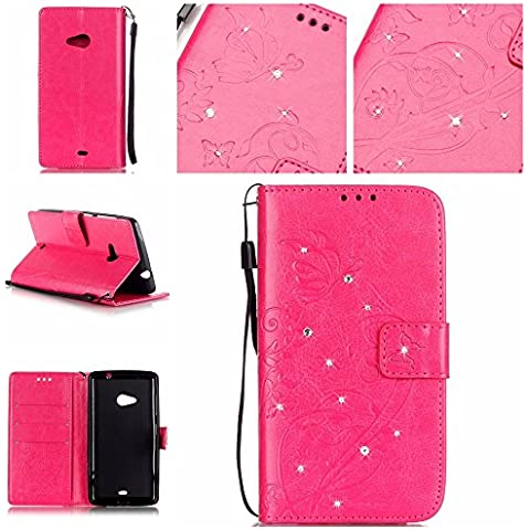 Cozy Hut Nokia Lumia N535 in Pelle,Portafoglio / wallet / libro Flip elegante e di alta qualità con porta carte di credito e banconote Stampa creativa Chiusura Magnetica Protettiva Cover Case per Nokia Lumia N535,Bling Diamante del modello di fiore di farfalla - Red Rose