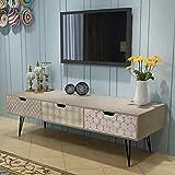 AEVOBAS Schrank, TV-Board Fernsehschrank, Fernsehtisch mit 3 Schubladen, Sideboard, grau, 120 x 40 x 36 cm