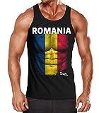 MoonWorks EM Tanktop Herren Fußball Rumänien Romania Flagge Fanshirt Waschbrettbauch Muskelshirt Schwarz L