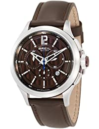 Breil Men's 939 Swiss-made Chronograph Watch BW0534 with 44mm Stainless Steel Case, Brown Dial, and Brown Leather Strap