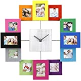 VonHaus Multi Coloured Photo Frame Clock - Holds 12 Photos & Includes Free 2 Year Warranty