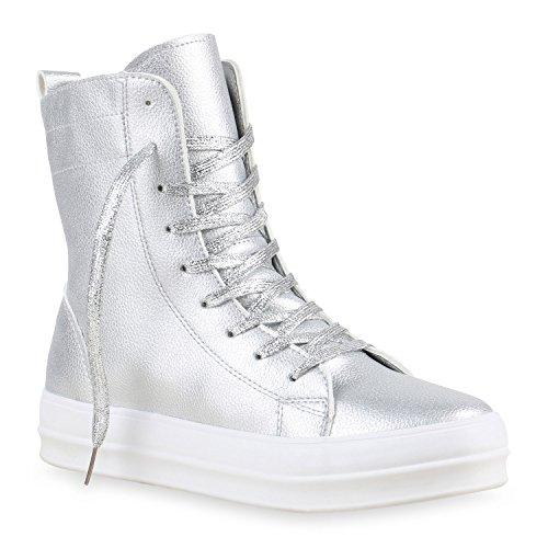 Damen Sneakers High Zipper Camouflage Boots Sneaker Stiefel Denim Schnürstiefeletten Schuhe 124837 Silber Glanz 36 Flandell