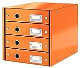 Leitz, Schubladenbox, Orange, 4 Schubladen, A4, Click & Store, 60490044