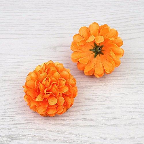 30 Stück 5 cm Seide Nelke Künstliche Pompons Kopf Mini Hortensien Home Hochzeit Dekoration DIY Kränze Orange (Tafelaufsatz Creme)