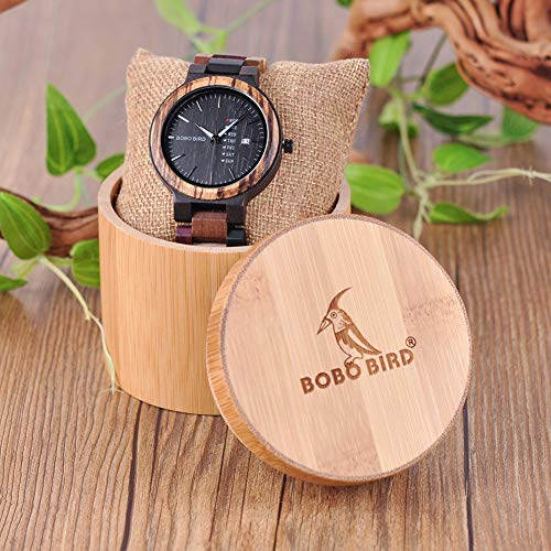 BOBO BIRD Men's Colorful Wooden Watches Analog Quartz Week Date Display Wood Watch Handmade Sport Casual Wristwatch with Gifts Box (Large for Men)