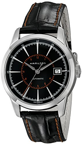 Hamilton Men's H40555731 American Classic Railroad Stainless Steel Automatic Watch with Black Band