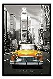 NEW YORK POSTER Encadré Taxi jaune à Times Square broches Tableau mémo Noir en liège–96,5x 66cm (environ 96,5x 66cm)