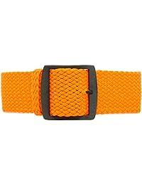 daluca Perlon de nailon trenzado correa de reloj–Naranja (PVD hebilla): 22mm
